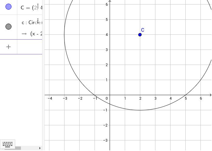 Noto il centro C e il raggio r=5, sfruttiamo il comando di Geogebra per la costruzione della circonferenza Premi Invio per avviare l'attività