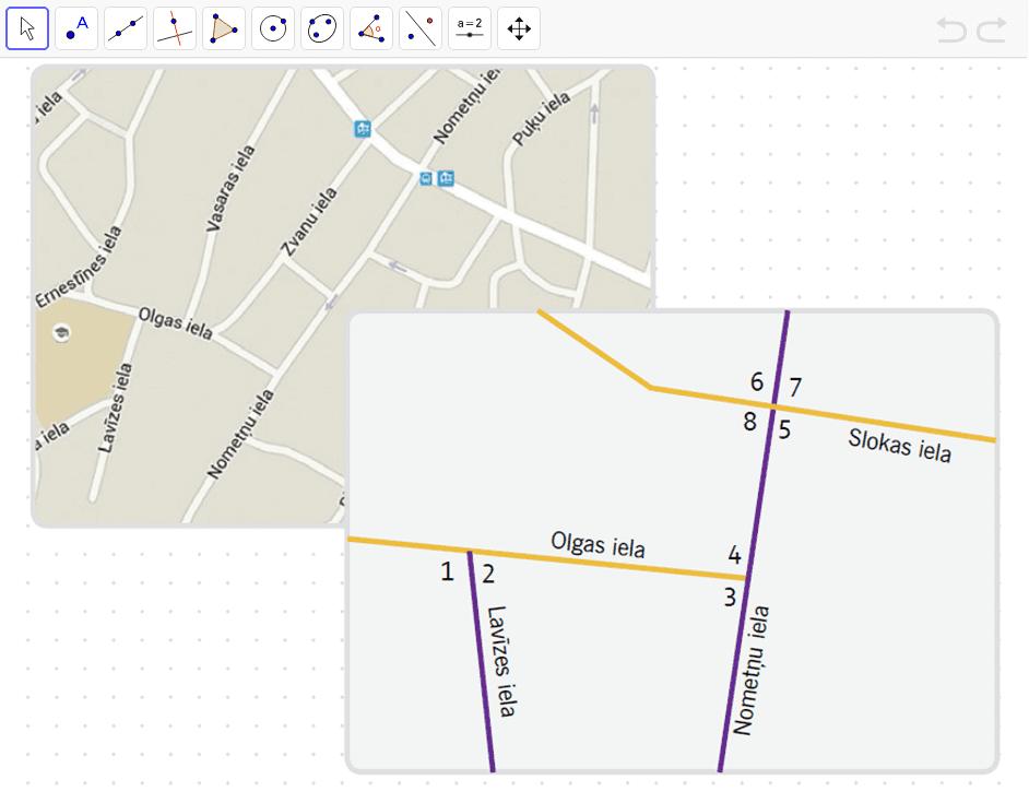 Izmēri kartē atzīmētos leņķus!