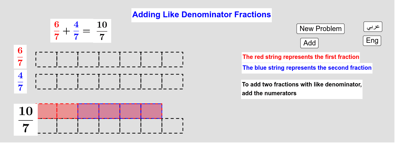 Adding Like Denominators Fractions        جمع الكسور من المقام نفسه Press Enter to start activity