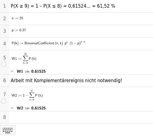 Binomialverteilung ohne Black Box Verfahren Press Enter to start activity
