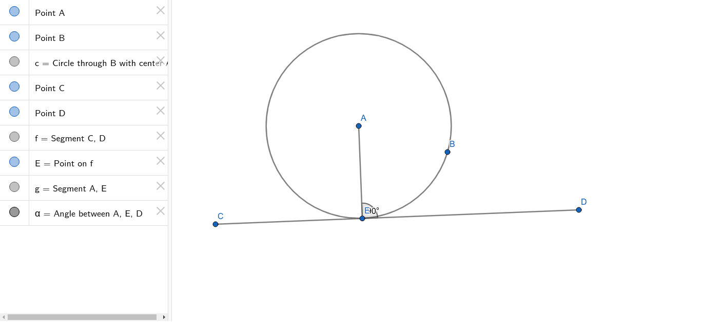 Angle between the radius and tangent Press Enter to start activity