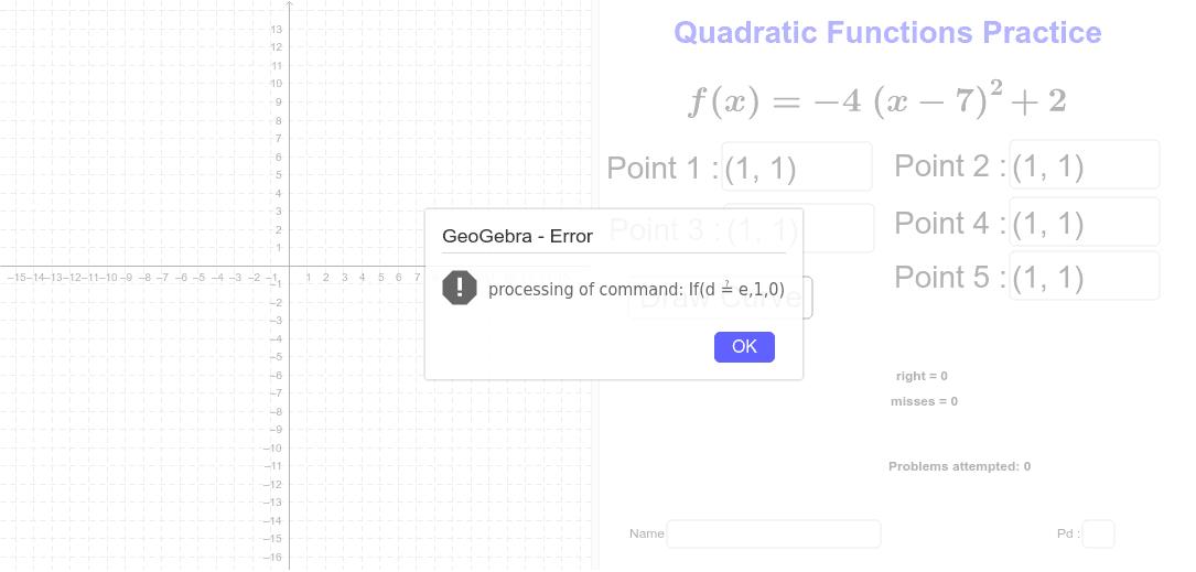 Quadratic Functions Practice – GeoGebra