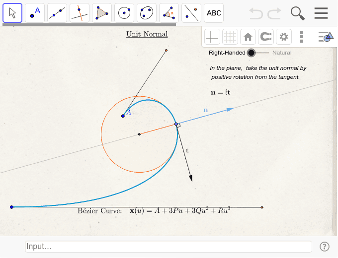 Curvature, Osculating Plane, and Tangent/Normal – GeoGebra