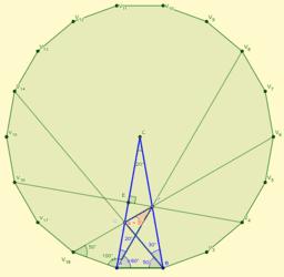 Triángulo isósceles 20°, 80°, 80°