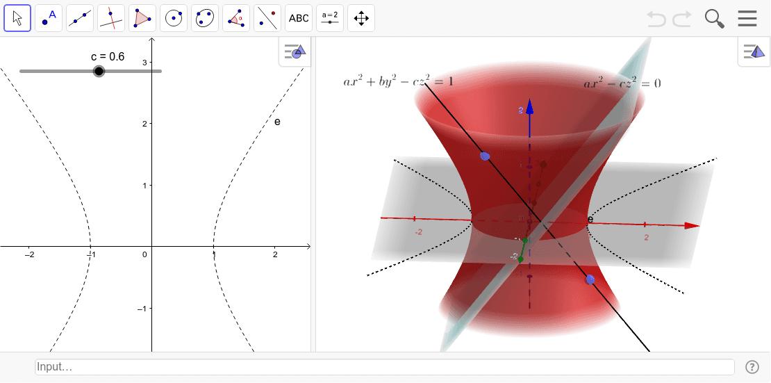 一葉双曲面と双曲放物面には無限の直線が含まれる。青い面が切断した面が直線になる。