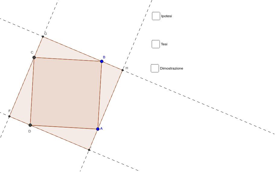 Per ciascun vertice di un quadrato conduci una retta di inclinazione fissata e nel medesimo verso. Dimostra che si ottiene un quadrato. Press Enter to start activity