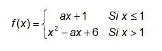 """Troba el valor del paràmetre """"a"""" per tal que la funció següent sigui contínua"""