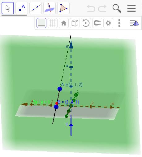 Plano perpendicular a la recta que pasa por A