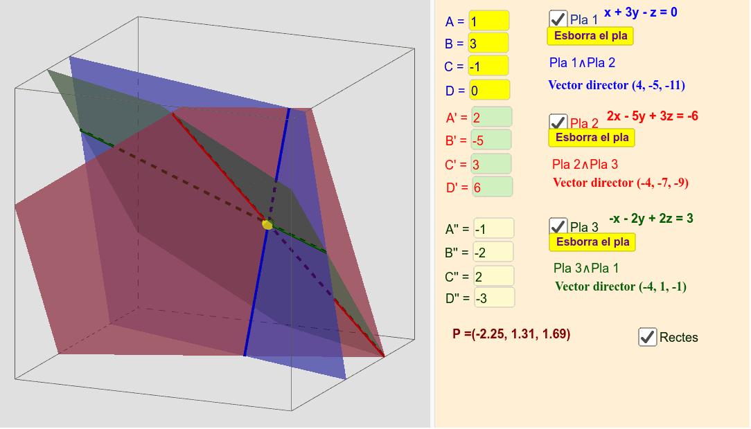 Posició relativa entre tres plans