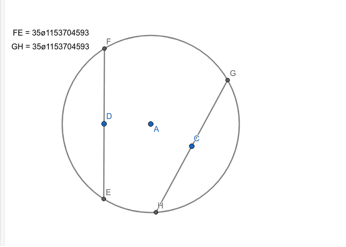 """Make two chords of Circle A that are always congruent.  Verify with the """"Length"""" tool."""