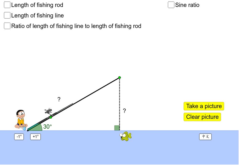 Drag the green points. 拖拉綠色點改變魚桿的長度和角度。