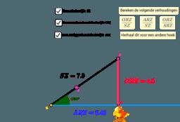 Verhoudingen tussen de zijden in een rechthoekige driehoek