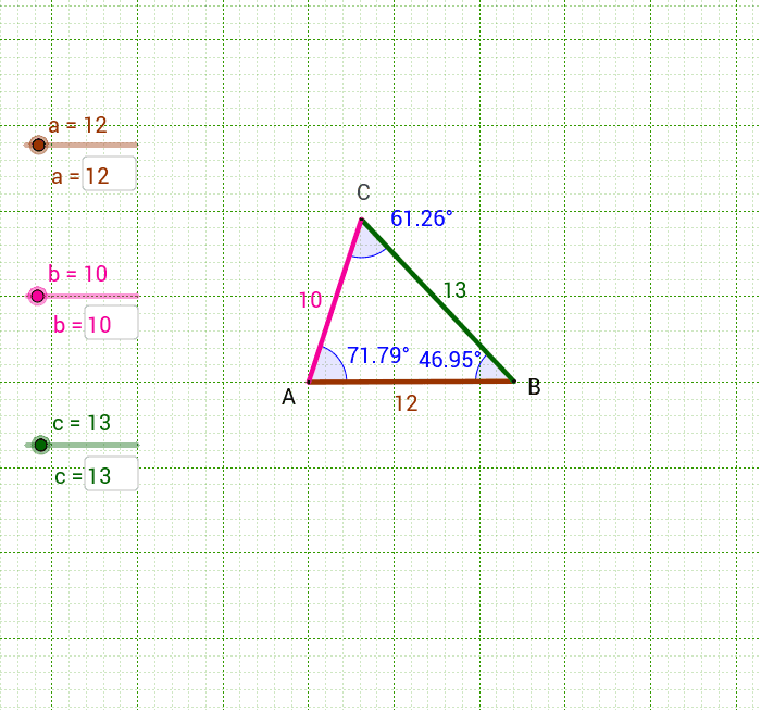 Enter different side lengths to see the effect on the triangle.