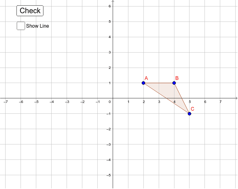 Drag the points from triangle ABC to create it's image after a reflection over the line Y = X. Press Enter to start activity