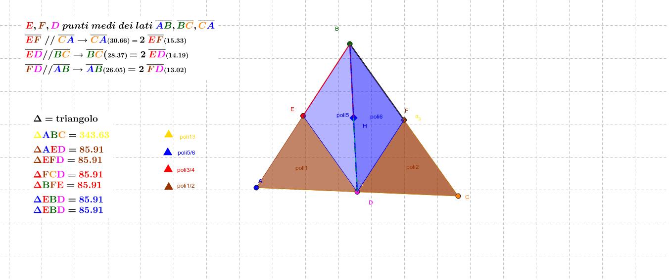 unendo i punti medi dei lati o il punto B con D, si ottengono 6 triangoli. Sommando l'area di 4 trangoli si ottiene l'area di ABC  Premi Invio per avviare l'attività