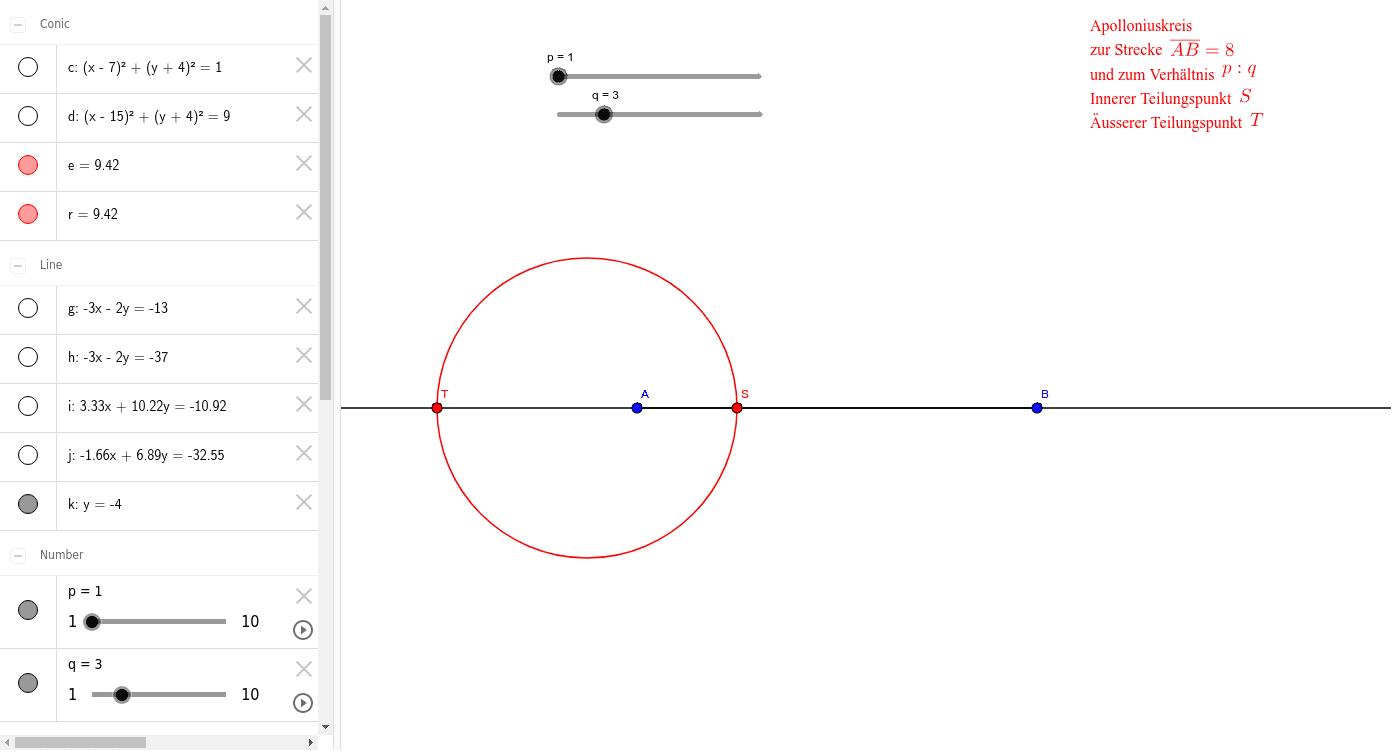 Mit den Schiebereglern kannst du ein Verhältnis p:q vorgeben, zu welchem der Apolloniuskreis gezeichnet wird.