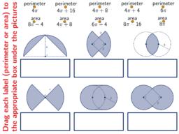 area and perimeter of circleparts