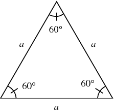 This is an [b]equilateral triangle[/b]. Each angle in an equilateral triangle is [math]60^\circ[/math]. The sides are all equal in length. Each side is represented by [i]a[/i] in this diagram.