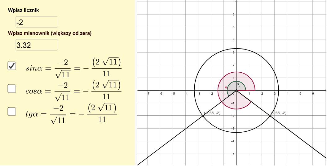 Aplet ilustruje sposób rysowania kąta w układzie współrzędnych, gdy znana jest wartość jednej z funkcji trygonometrycznych tego kąta.