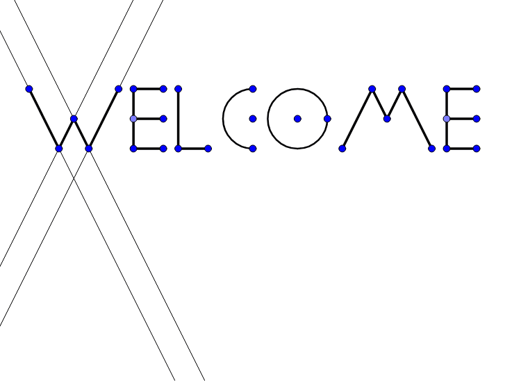 "This is your first step to learning how to use a tool called Geogebra to learn geometry.  Try moving around the lines and points that make up the word ""WELCOME"". Press Enter to start activity"