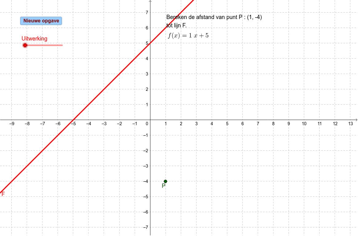 Afstand berekenen van eenpunt tot een lijn