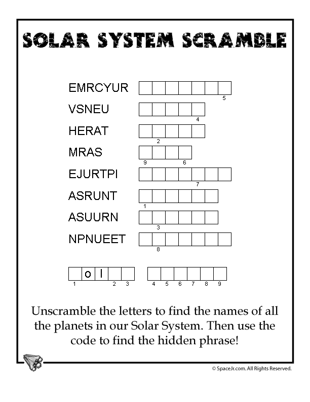 Children are asked to write the correct name of the planet.