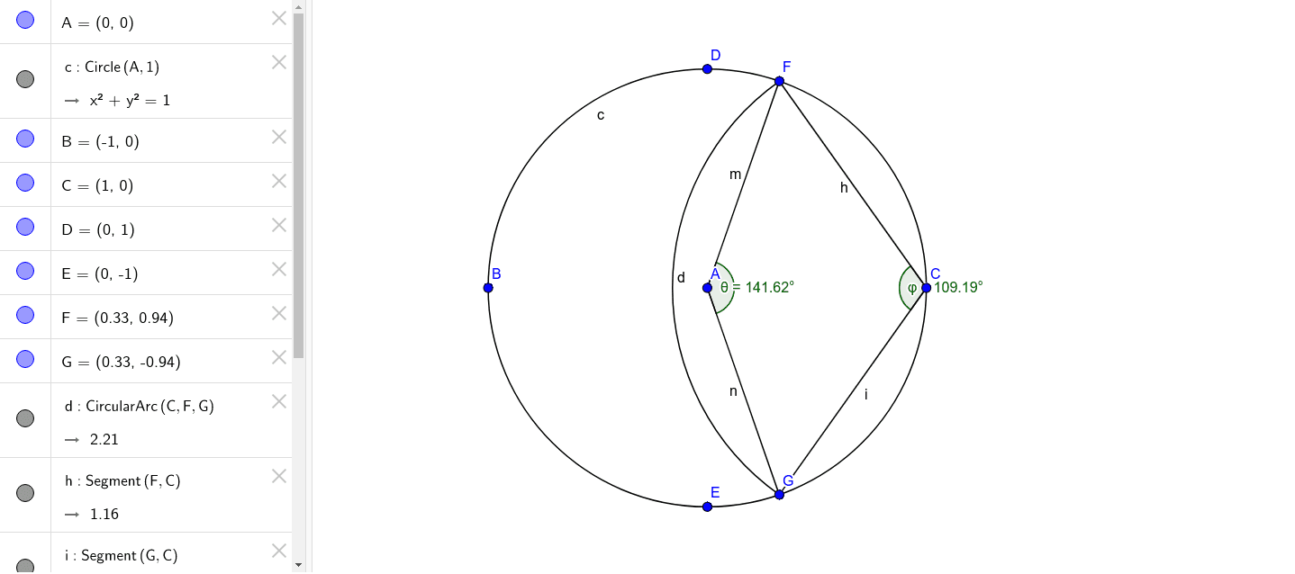 Bisection of a Circle by means of a second Circumference. Press Enter to start activity