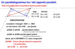 (Tesi e) le diagonali si incontrano nel loro punto medio