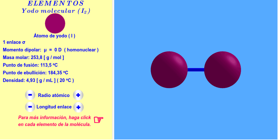 Molécula interactiva de yodo molecular. Los radios atómicos y la longitud del enlace se pueden variar. Para más informaciones, haga click en cada átomo y enlace de la molécula. Presiona Intro para comenzar la actividad