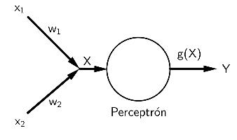Diagrama de perceptrón de dos entradas. Fuente: Elaboración propia.