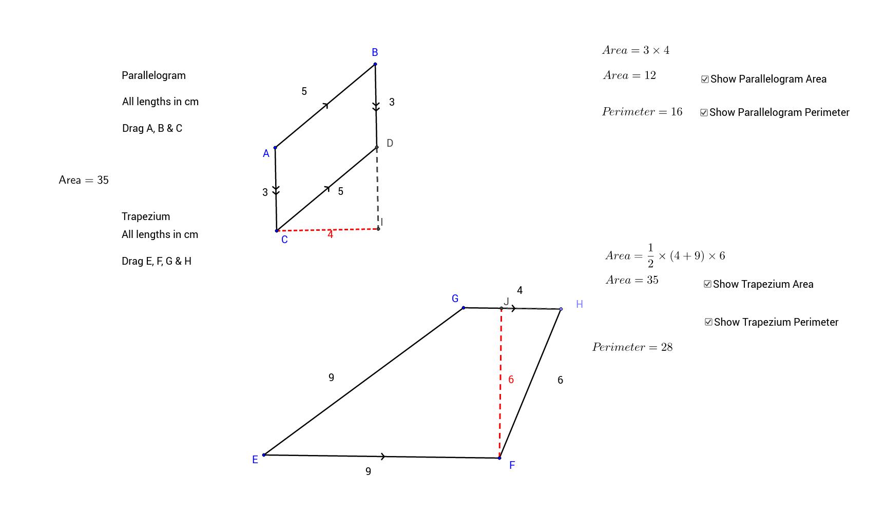 Parallelogram & Trapezium Area & Perimeter