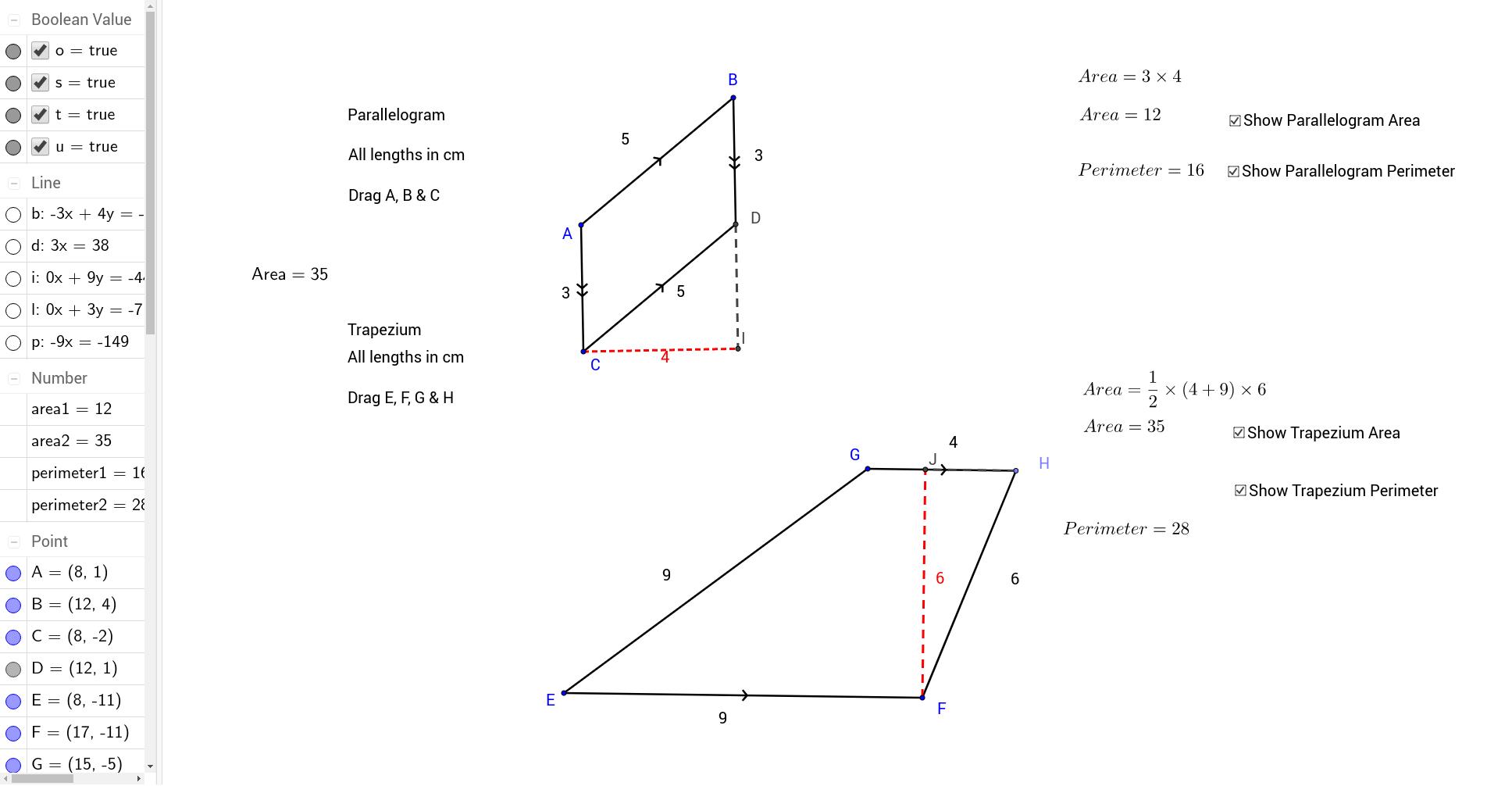 Parallelogram Trapezium Area Perimeter Geogebra