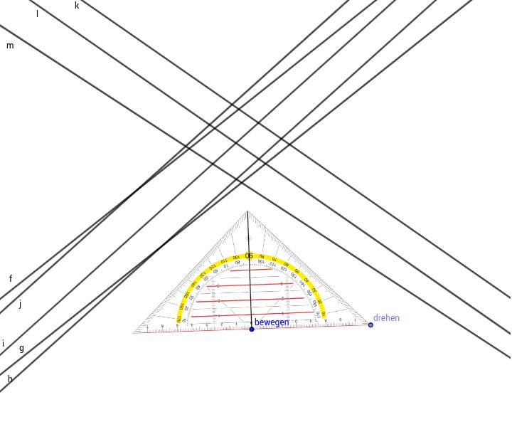 Stelle mit Hilfe des Geodreiecks fest, ob die Geraden zueinander parallel sind! Drücke die Eingabetaste um die Aktivität zu starten
