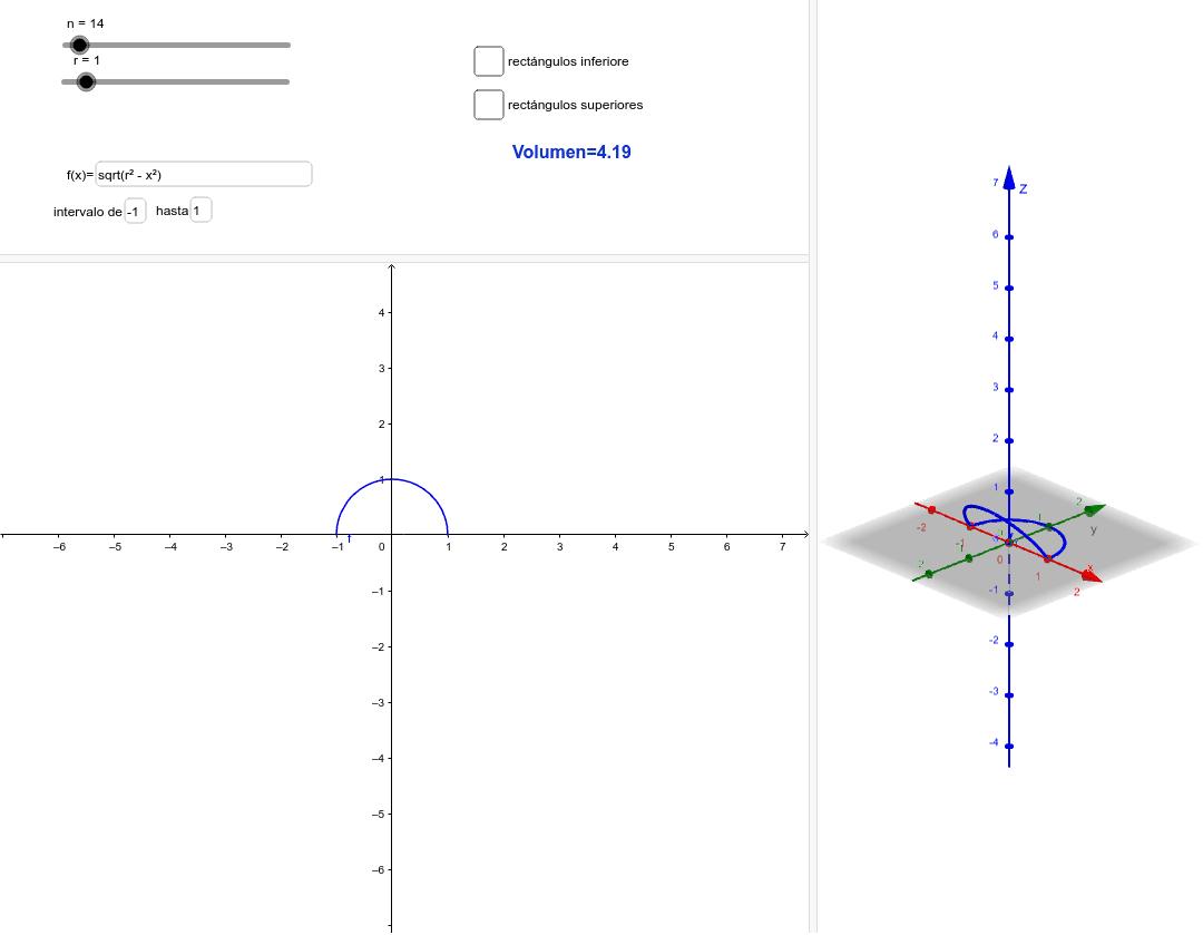 Modifica: 1. valores del intervalo  2. número de rectángulos (n) 3. identifica qué pasa