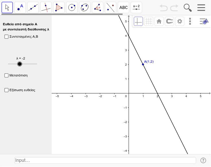 Ευθεία από σημείο Α και συντελεστή διεύθυνσης λ Press Enter to start activity