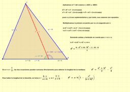 Teorema de Stewart, longitud de la mediana y de la bisectriz