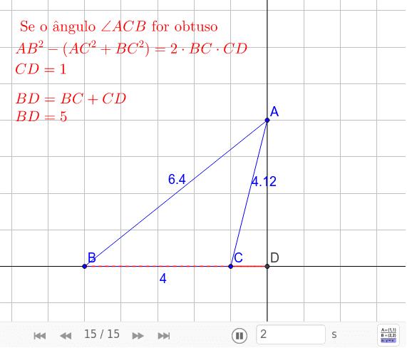 TEOREMA 43. Se as medidas dos três lados de um triângulo ∆ABC forem conhecidas e dado o ponto D de intersecção da reta perpendicular à reta BC passando pelo ponto A, então as medidas dos segmentos BD e CD podem ser determinadas.