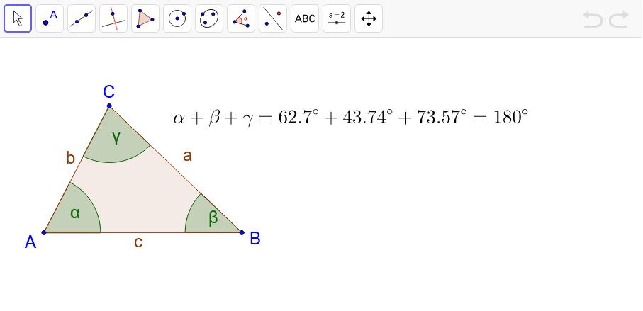 Dokaži, da je vsota notranjih kotov trikotnika 180°.