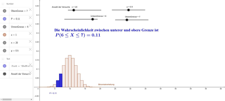 Kumulierte Binomialverteilung – GeoGebra