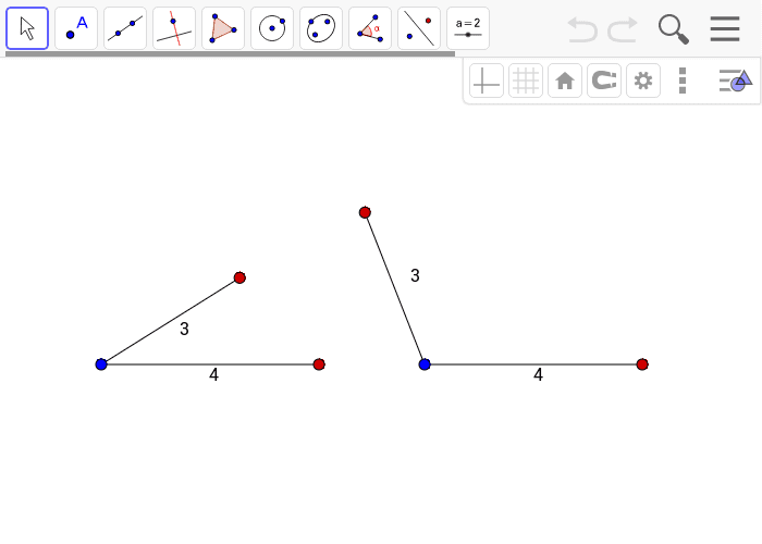 Hint: You can move the red points to change the angles between segments. The blue dots are fixed in place.