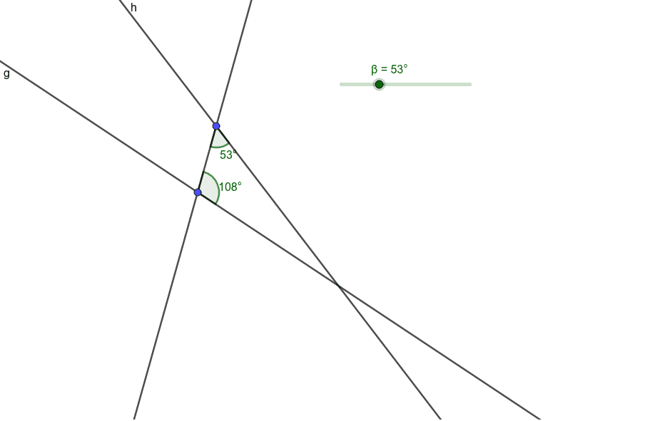 Move the slider so that lines g and h become parallel.