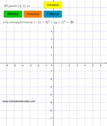 Practica posicion relativa puntos a circunferencia