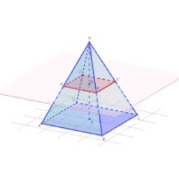 Section et tronc d'une pyramide de base carrée