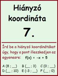 lineáris függvény - hiányzó koordináta 7.