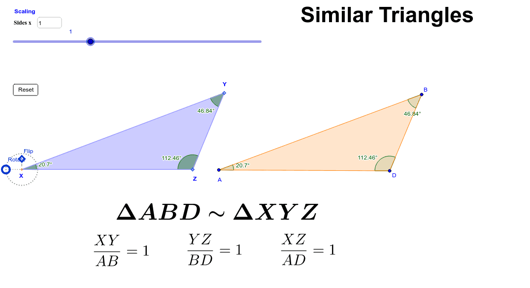 9.3: Comparing Similar Triangles Dynamically Press Enter to start activity