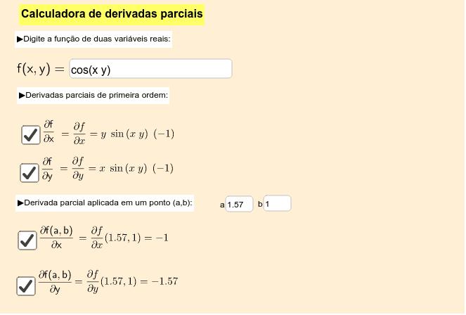 Calculadora de derivadas parciais