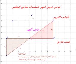 قياس عرض النهر باستخدام تطابق المثلثين