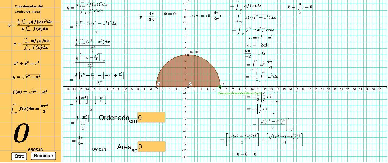 Obtener la ordenada del centro de masa y el área del semicirculo