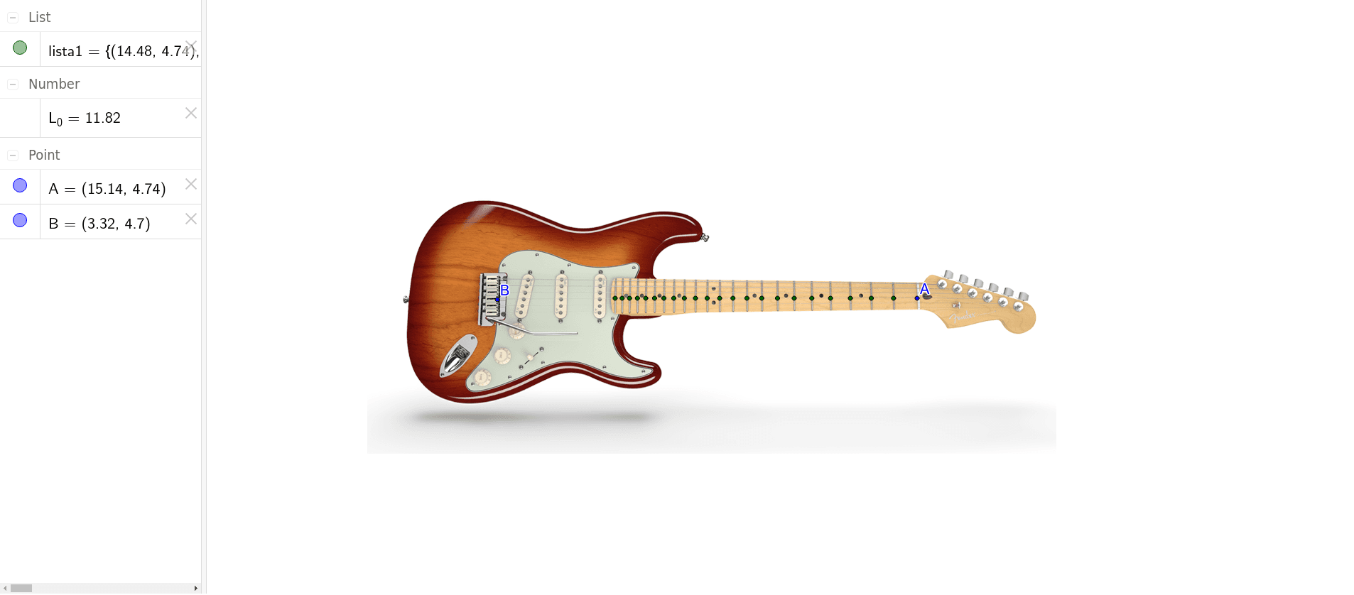 Progressioni geometriche sul manico della chitarra Press Enter to start activity