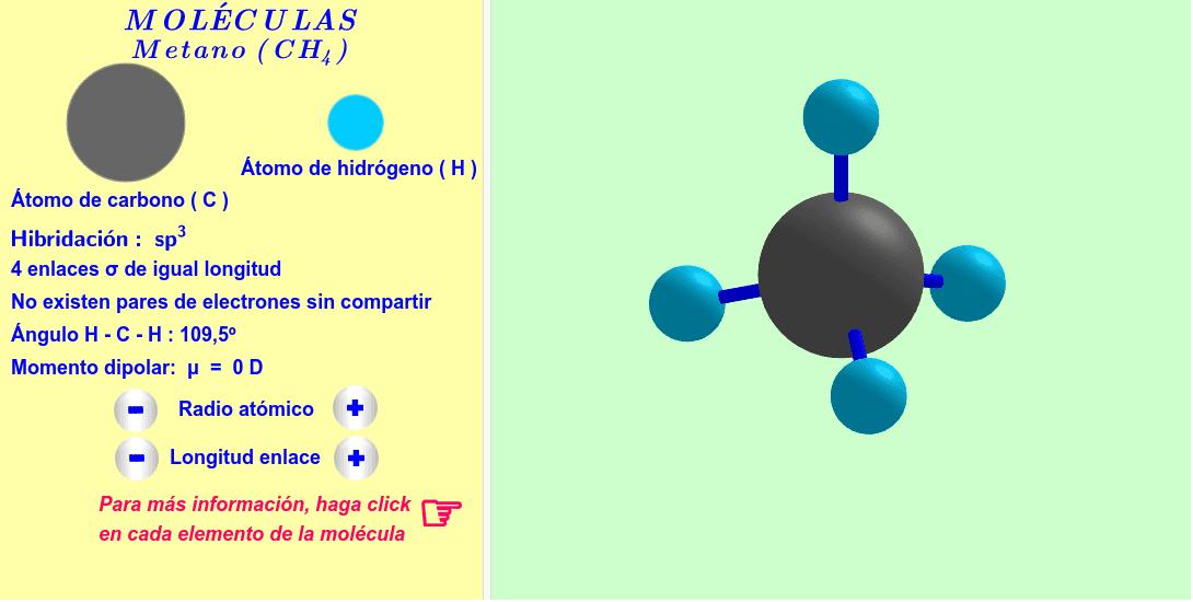 Molécula interactiva de metano. Los radios atómicos y las longitudes de los enlaces se pueden variar. Para más informaciones, haga click en cada átomo y enlace de la molécula. Press Enter to start activity